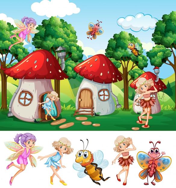 Fairies in fantasy world Free Vector