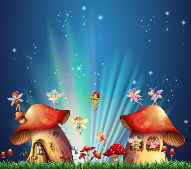 Fairies flying over mushroom houses Free Vector