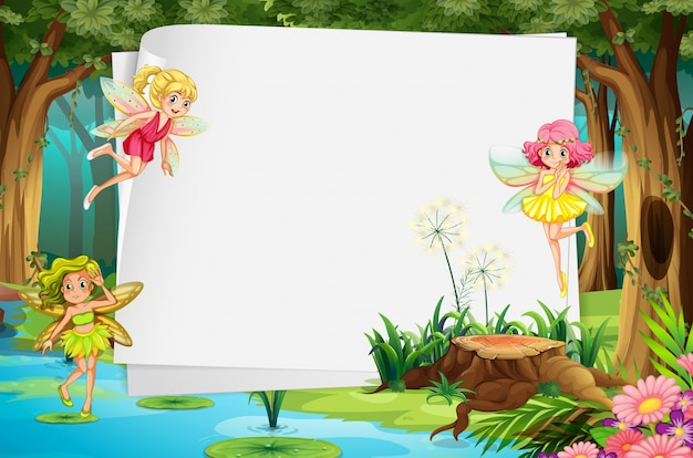 Fairies and sign Free Vector