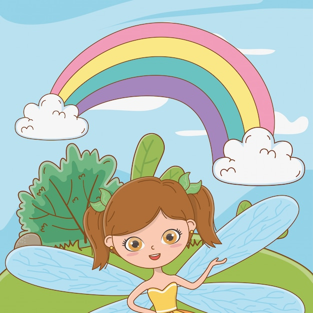 Fairy cartoon of fairytale Free Vector