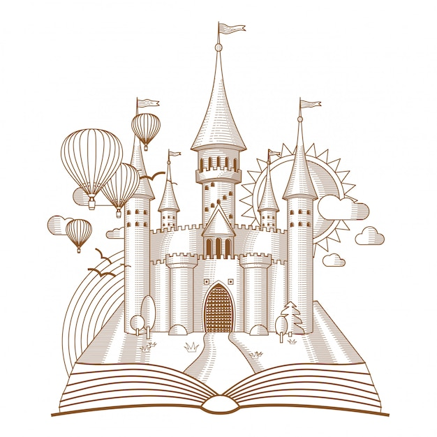 Fairy castle appearing from the old book mono line art Premium Vector