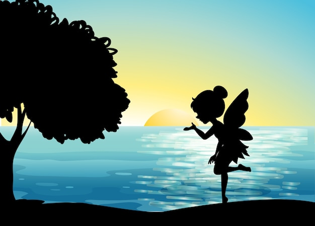 Fairy characters in nature scene Free Vector