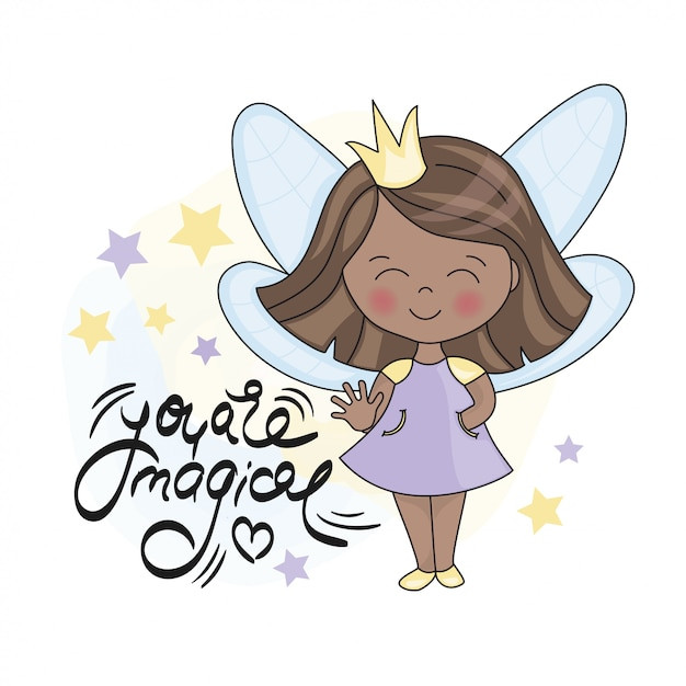 Fairy dark princess and lettering Premium Vector
