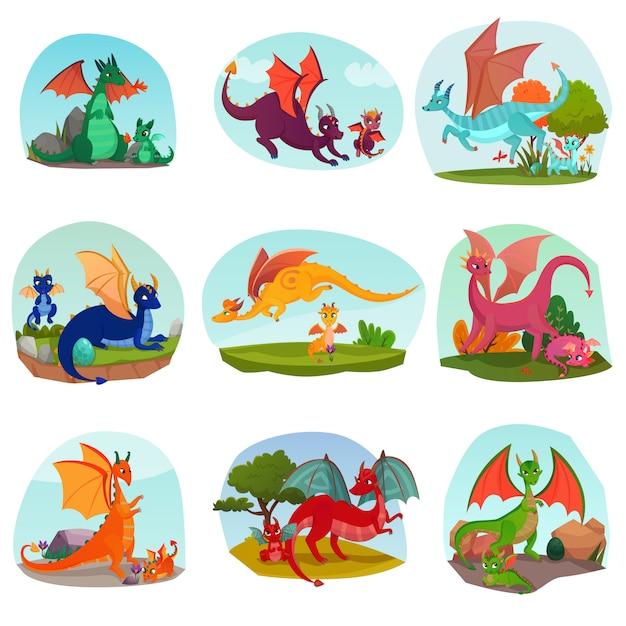 Детский набор fairy dragon Бесплатные векторы