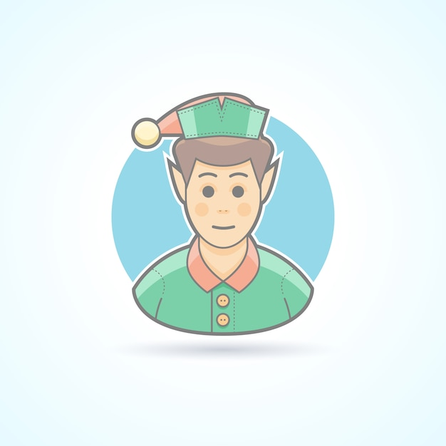 Fairy elf, santa's assistant, minion icon. avatar and person illustration.  colored outlined style. Premium Vector