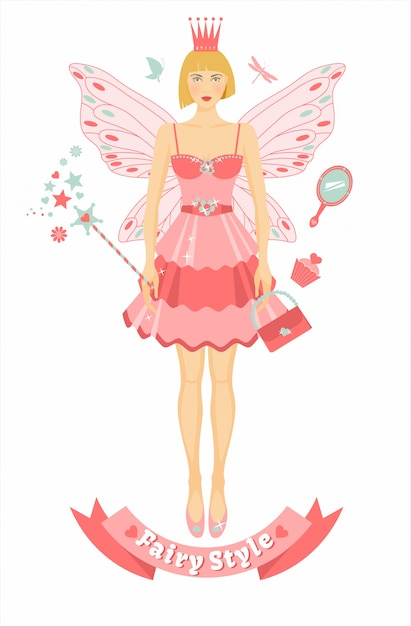 Fairy figure with accessories Premium Vector