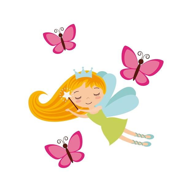 Fairy girl icon Premium Vector