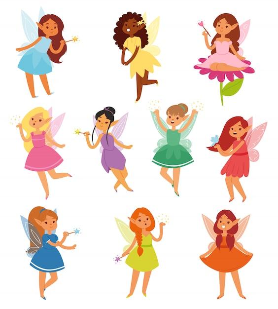 妖精の女の子魔法の妖精のキャラクターとファンタジーおとぎの国の図のおとぎ話の美しい王女白い背景の上の魔法の翼を持つ妖精妖精ピクシーのセット Premiumベクター