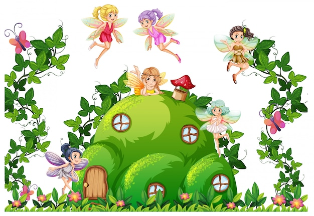 Fairy at the hill house Free Vector