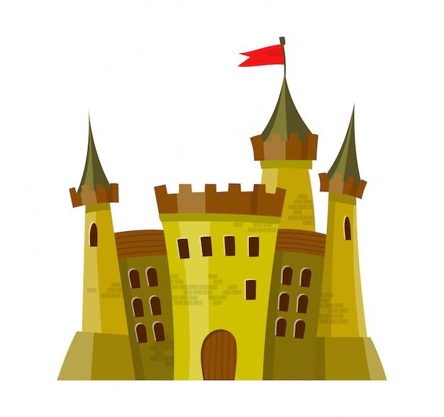 Сказочный средневековый замок в мультяшном стиле Premium векторы