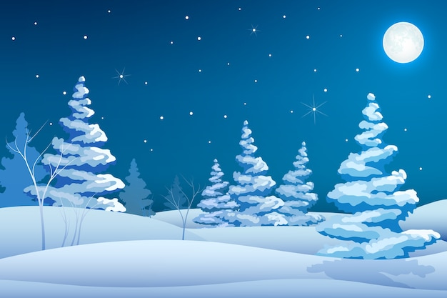 Fairy night winter landscape template with snowy trees stars and moon Free Vector