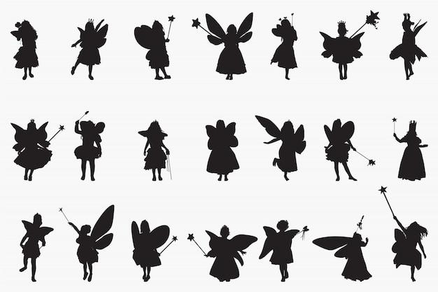 Fairy princes silhouettes Premium Vector