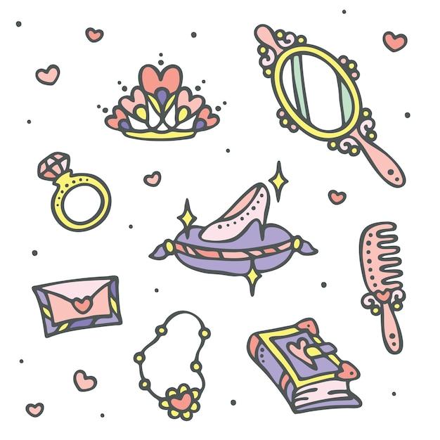 Fairy princess icon set Premium Vector