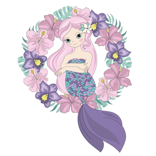 Fairy queen mermaid princess wreath Premium Vector