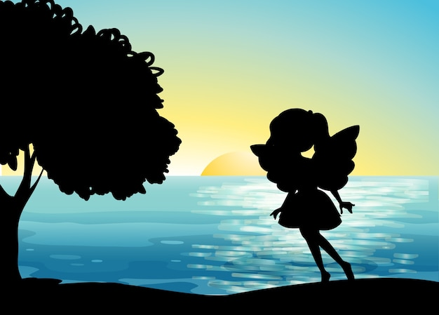 Fairy silhouette in the beach Free Vector