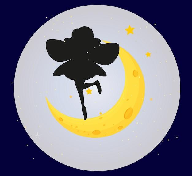 Fata silhouette sullo sfondo della luna Vettore gratuito
