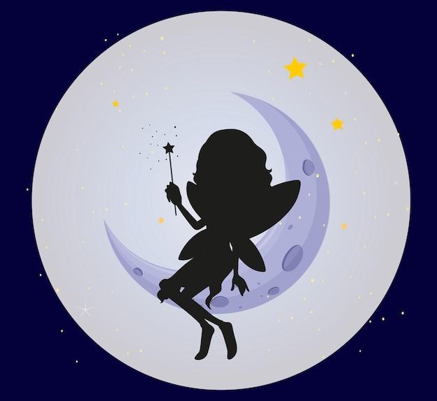 月の妖精のシルエット 無料ベクター