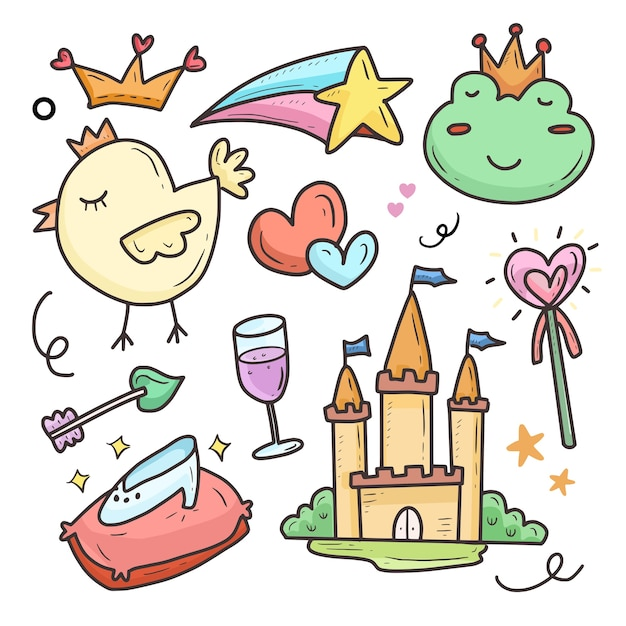 Fairy tail princess and castle cartoon drawing collection set sticker Premium Vector