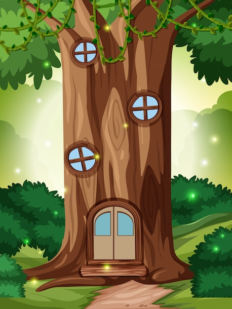 A fairy take house in forest Premium Vector