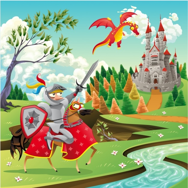 Fairy tale background design Free Vector