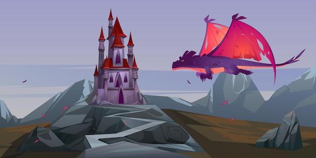 황무지 산 계곡에서 붉은 날개를 가진 동화 속 성 및 비행 용 무료 벡터