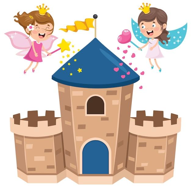 おとぎ話の城と幸せな子供たち Premiumベクター