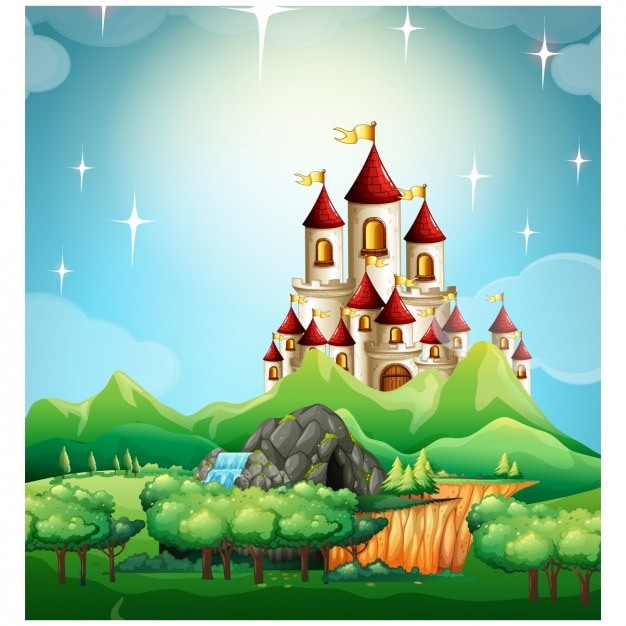 Fairy Tale Castle Background Design Vector
