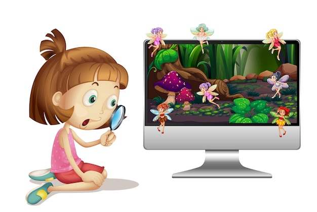 Fairy tale on computer screen Free Vector