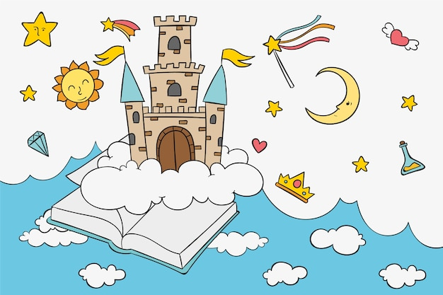 Fairy tale concept with castle Free Vector