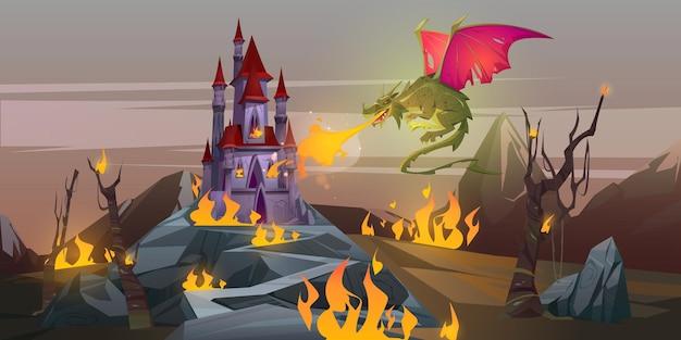 Сказочный огнедышащий дракон атакует волшебный замок в горной долине. Бесплатные векторы