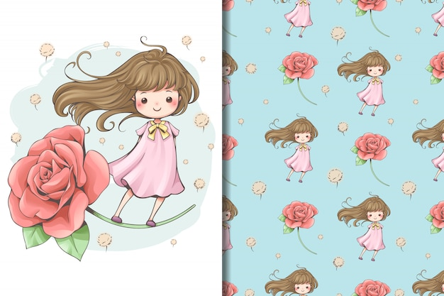 Fairy tale flower wallpaper and pattern Premium Vector