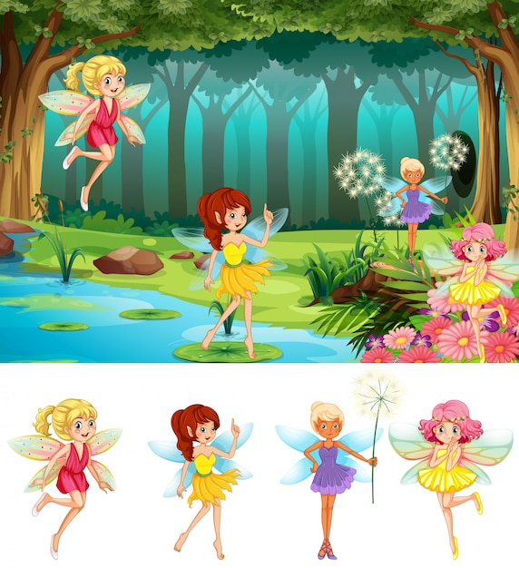 Fairy tale in the forest Free Vector