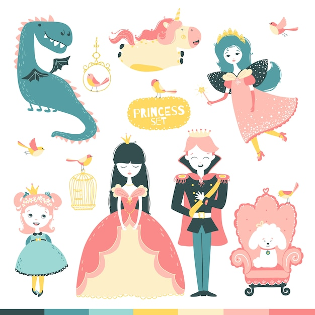 Fairy-tale heroes set. a magical story with a princess, a prince, a fairy, a dragon, a unicorn, etc. Premium Vector
