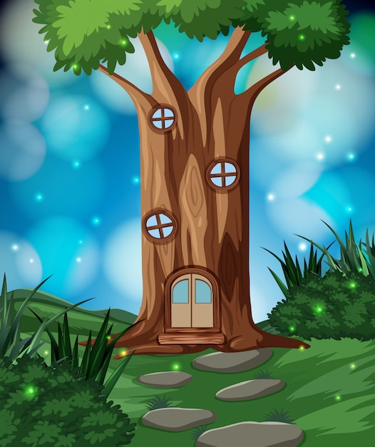 A fairy tale house in forest Premium Vector