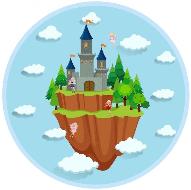 Fairy tale island scene Free Vector