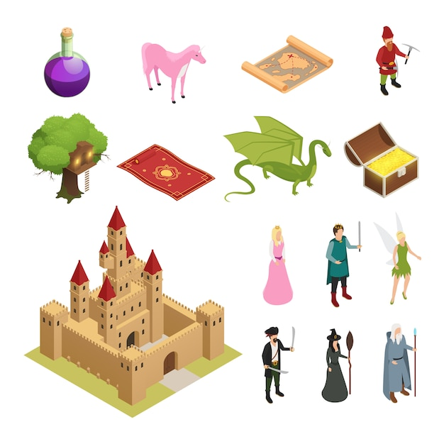 Fairy tale isometric icons set Free Vector