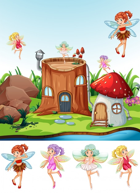 Fairy tale in the nature Free Vector