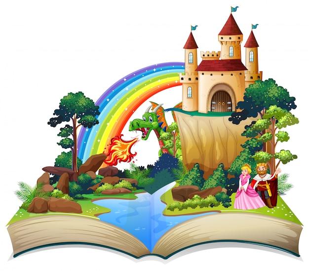A fairy tale open book Premium Vector
