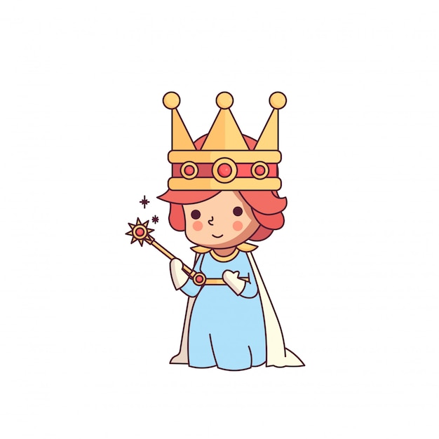 Fairy tale queen of wand cute character Premium Vector