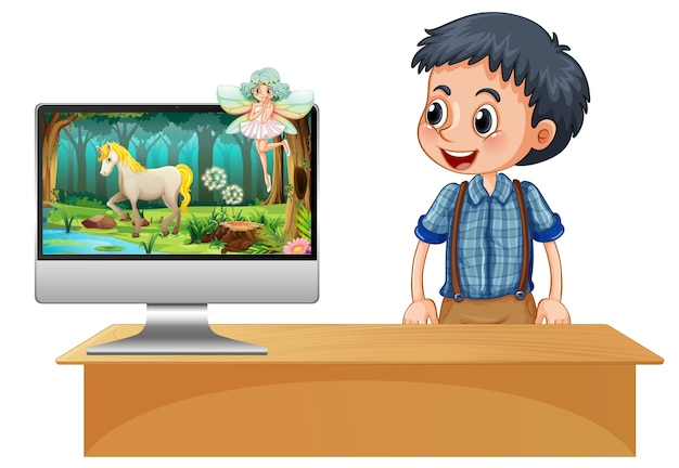 Fairy tale scene on computer screen Free Vector