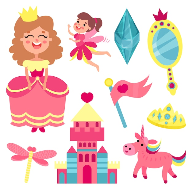 Fairy tale set, collection with accessories for a little princess or fairy   illustrations Premium Vector