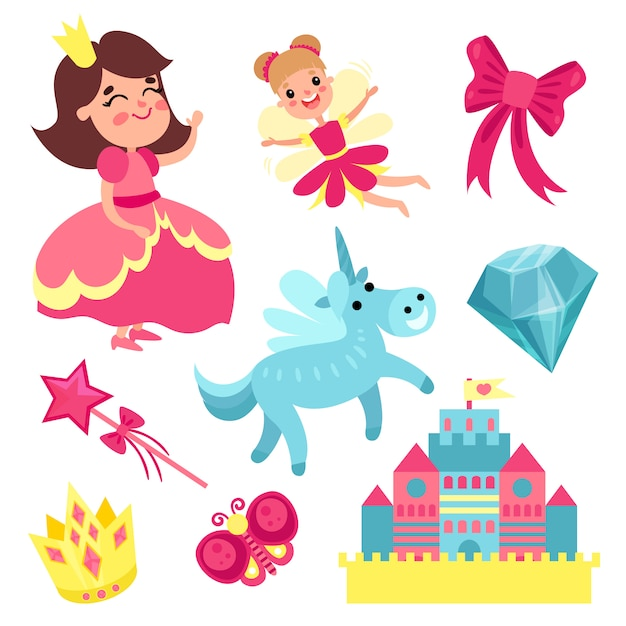 Fairy tale set, little princess and fairy with unicorn, castle and magic elements   illustrations Premium Vector