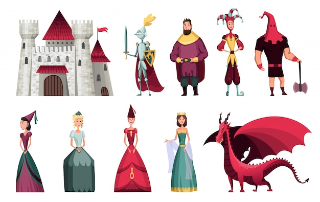 Fairy tales characters. fantasy knight and dragon, prince and princess, magic world queen and king with castle tale magic. fairytale isolated cartoon vector icons set Premium Vector