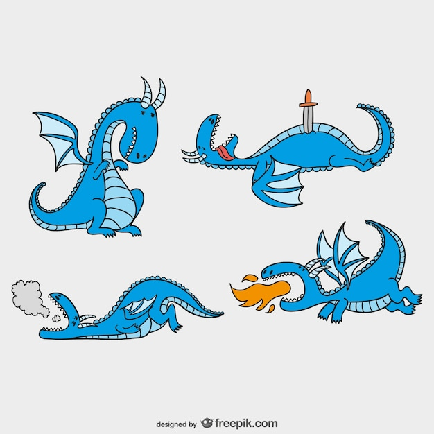 Fairy tales dragons pack Premium Vector