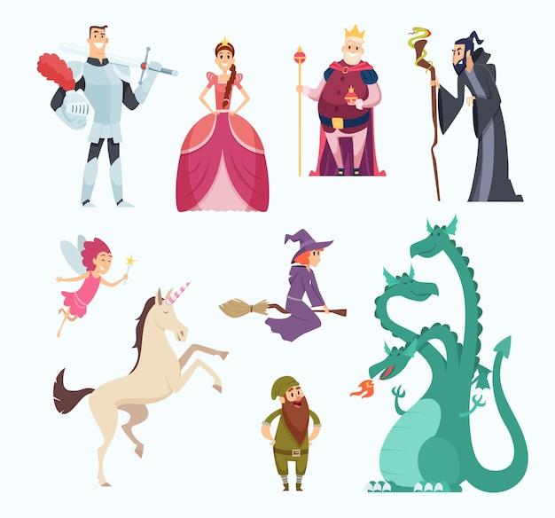 Сказочные герои. ведьма волшебник принцесса дракон забавные персонажи в мультяшном стиле. Premium векторы