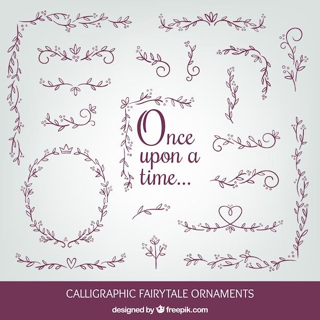 Fairy tales ornaments Free Vector