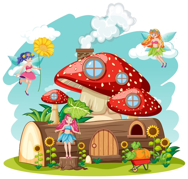 Fairy tales with mushroom and timber house isolated cartoon style on white background Free Vector