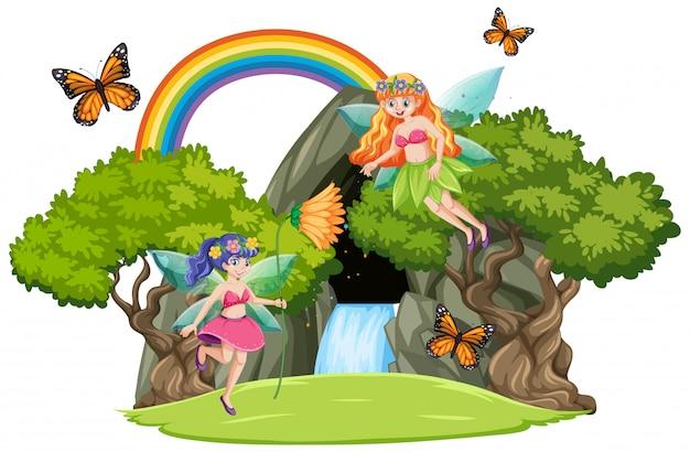 滝の洞窟と白い背景で隔離の虹のおとぎ話 無料ベクター