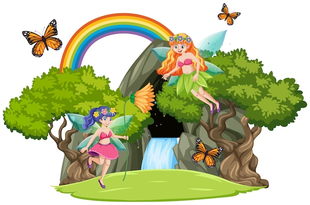 Fairy tales with waterfall cave and rainbow isolated on white background Free Vector