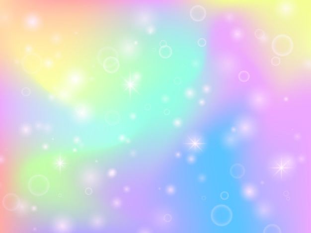 Fairy unicorn rainbow background with magic sparkles and stars. multicolor fantasy abstract vector backdrop Premium Vector